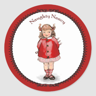 Retro Naughty Nancy Classic Round Sticker