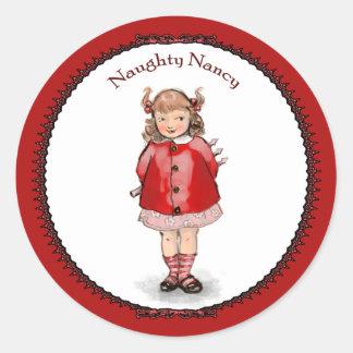 Retro Naughty Nancy Classic Round Sticker