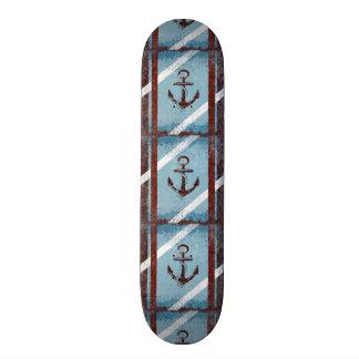 Retro Nautical Anchor Red Blue Grunge Distressed Skate Board