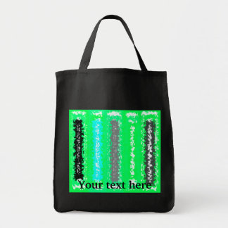 Retro neon green black psychedelic rectangles grocery tote bag