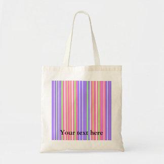 Retro neon green pink mauve violet stripes budget tote bag