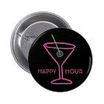 Retro Neon Martini Happy Hour Button