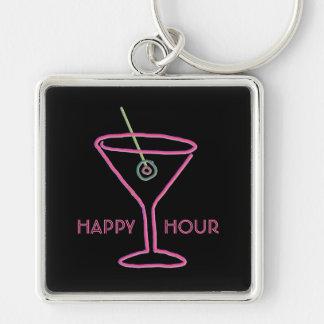 Retro Neon Martini Happy Hour Keychain