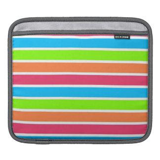 Retro Neon Rainbow Stripes; Striped Sleeve For iPads