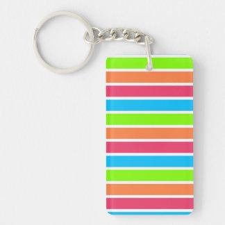 Retro Neon Rainbow Stripes; Striped Rectangular Acrylic Keychain