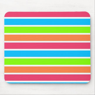 Retro Neon Rainbow Stripes Striped Mousepad