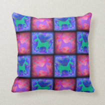 Retro Neon Unicorn Checks Pattern Cushion