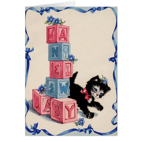 Retro New Baby Greeting Card With Kitten