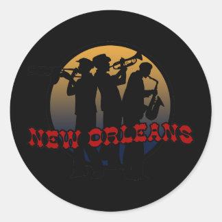 Retro New Orleans Jazz Round Sticker