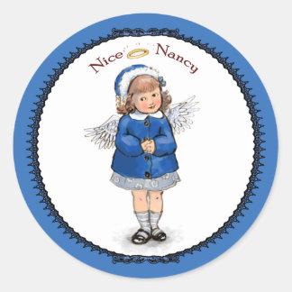 Retro Nice Nancy Classic Round Sticker