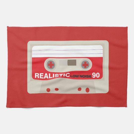 Retro nostalgic music lover cassette graphic tea towel