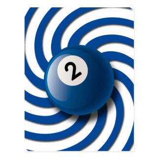 RETRO NUMBER 2 BILLIARDS BALL POSTCARD
