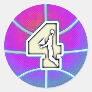 Retro Number 4 Basketball Round Sticker
