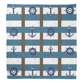 Retro Ocean and Sea Nautical Anchor brown Blue Bandana