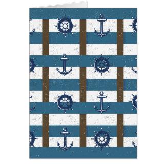 Retro Ocean and Sea Nautical Anchor brown Blue Greeting Card