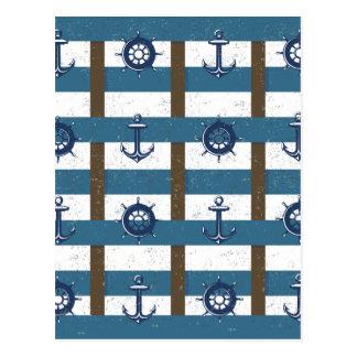 Retro Ocean and Sea Nautical Anchor brown Blue Postcard