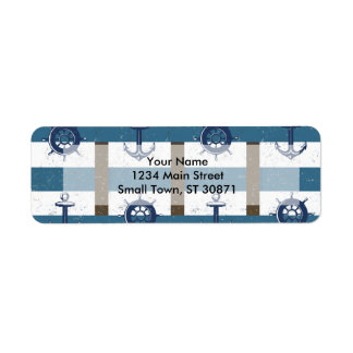 Retro Ocean and Sea Nautical Anchor brown Blue Return Address Label