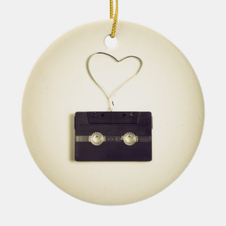 Retro off white cassette pattern love to customize christmas ornament