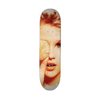 Retro Oil Painting Orange Beauty Girl 21.6 Cm Old School Skateboard Deck