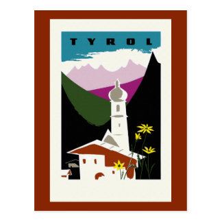 Retro oil pastel drawing Tyrol Austria travel Postcard