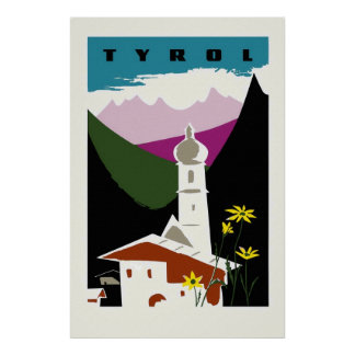 Retro oil pastel drawing Tyrol Austria travel Poster