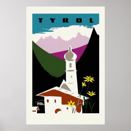 Retro oil pastel drawing Tyrol Austria travel Poster