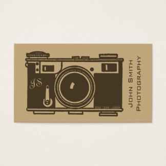 Retro Old Fashioned Brown Vintage Film Camera Business Card