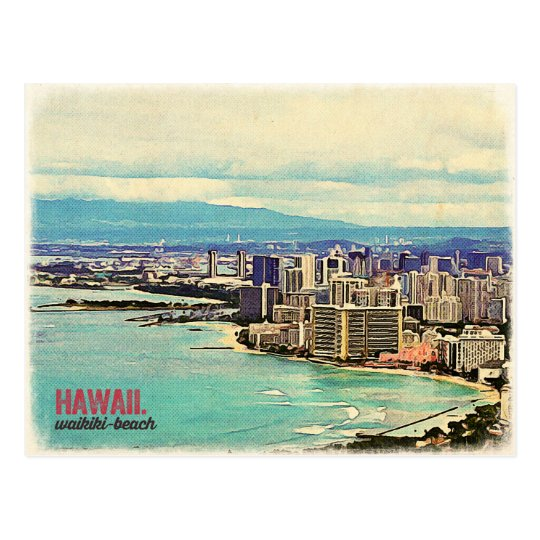 Retro Old Look Hawaii Oahu Island Waikiki Beach
