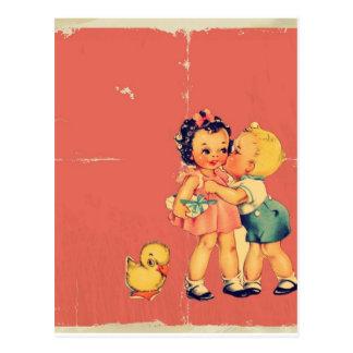 Retro old school Valentine Kitsch Vintage Kid Postcard