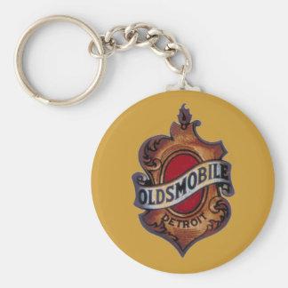 Retro oldsmobile sign basic round button key ring