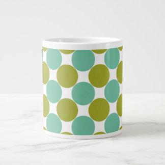 Retro Olive and Green Dots Large Coffee Mug