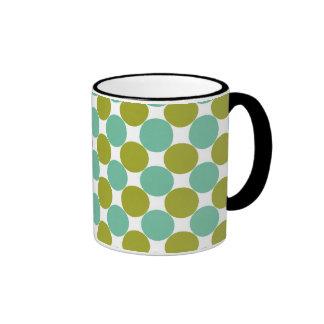 Retro Olive and Green Dots Ringer Mug