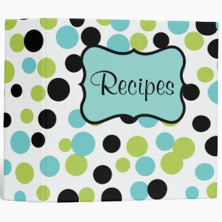 Retro Olive Dots Kitchen Recipe Organizer Binder