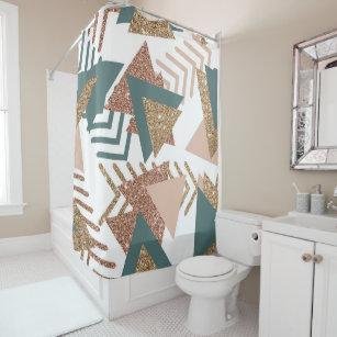 Retro Olive Green Trendy Copper Gold Geometric Shower Curtain