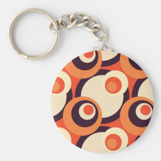 Retro Orange and Brown Fifties Abstract Art Basic Round Button Key Ring