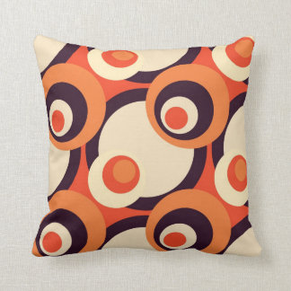 Retro Orange and Brown Fifties Abstract Art Cushion