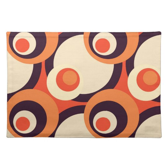 Retro Orange and Brown Fifties Abstract Art Placemat