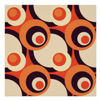 Retro Orange and Brown Fifties Abstract Art Poster