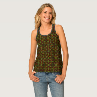 Retro Orange And Green Floral Pattern Tank Top