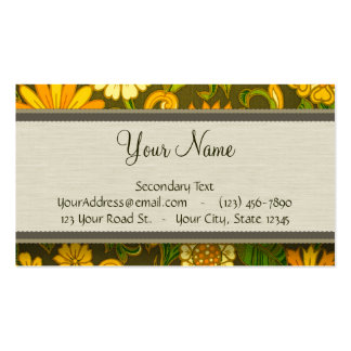 Retro Orange and Olive Jungle Floral with Monogram Business Card