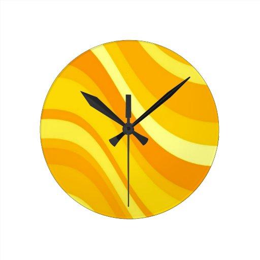 retro orange and yellow wall clock zazzle