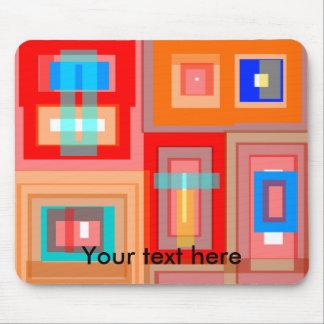 Retro orange blue squares mousepads