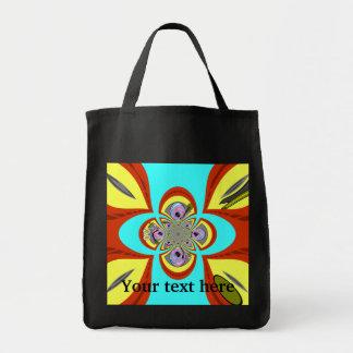 Retro orange blue turntable design grocery tote bag