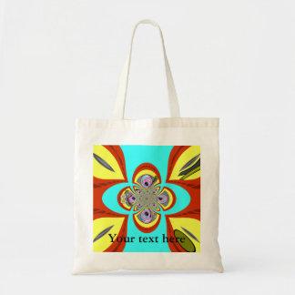 Retro orange blue turntable design canvas bag