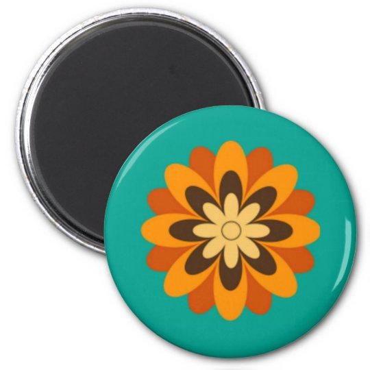 Retro Orange Brown Cream Daisy on Teal Magnet