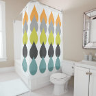 Retro Orange, Chartreuse, Aqua Bold Raindrop Geo Shower Curtain