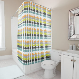 Retro Orange, Chartreuse, Aqua & Grey Raindrop Geo Shower Curtain