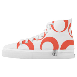 retro orange circle Custom Zipz High Top Shoes