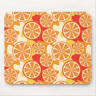 Retro Orange Citrus Pattern Mouse Pad