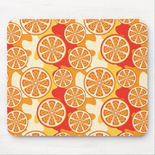 Retro Orange Citrus Pattern Mousepad